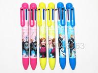 12pcs Free shipping  Cartoon Frozen 6 color Ballpoint pen Stationery Christmas gift