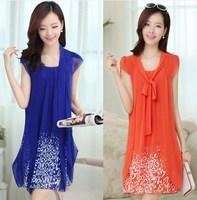 Summer dress 2014 New Women's casual plus size M/L/XL/2XL/3XL/4XL/5XL knee length chiffon dress print dresses work wear clothing
