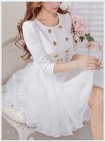 2014 new style Hitz influx  juxtaposition ladies put on a large waist gauze women's white jacket