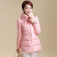 WWY43 2014 New Winter Coat Rabbit Fur Collar And Long Sections Slim Bow Down Padded Cotton Jacket Women