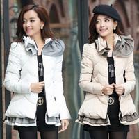 New Women's Down Coat 2014 Autumn Winter Thick Warm Wadded Jacket Lace Skirt Coat Medium-long Cotton Parkas Plus Size M-3XL