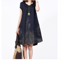 2014 new style summer plus size Ink printed casual dress, ladies women's cotton linen comfortable M-XXL dresses