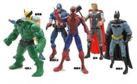 6pcs/lot The Avengers Action Mini Figures toys Hulk Wolverine Batman Spiderman Thor SHD-1076