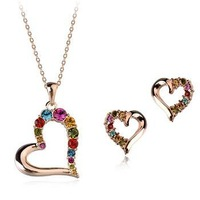 Fashion Jewelry Colorful Crystal Heart Necklace+Earring Jewelry Sets