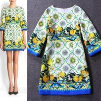 Free shipping 2014 autumn o-neck half-sleeve straight print jacquard one-piece dress evening casual women dress wholesale