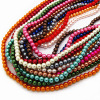 Fashion Jewelry Mix Size&Mix Color Glass Pearl Beads Round Shape African Loose Beads for Necklace&Bracelet HB389