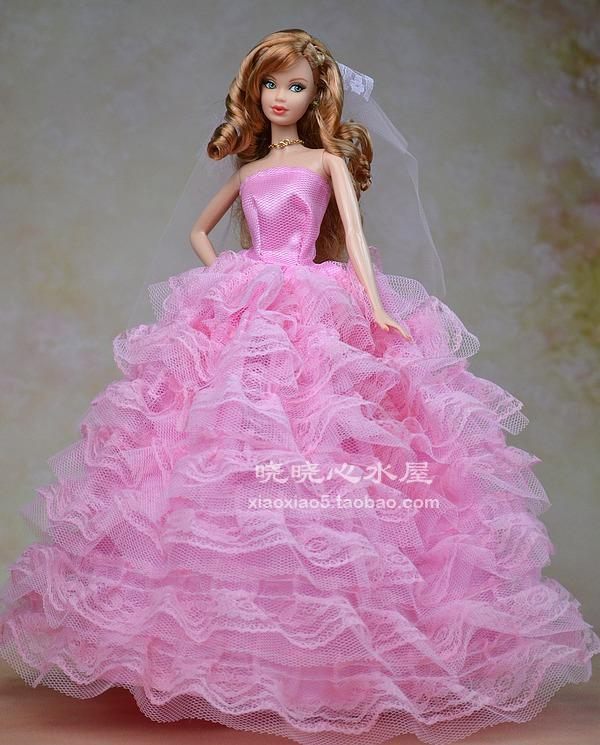 Barbie Pink Wedding Dresses: Free Shipping Pink Wedding Dress Clothes For Barbie Doll
