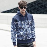 Free Shipping 2014 Famous Brand Autumn&Winter Men Slim Supreme Hoodies Sweatshirt Jackets Man Fashion Printed Hoody Zipper H111