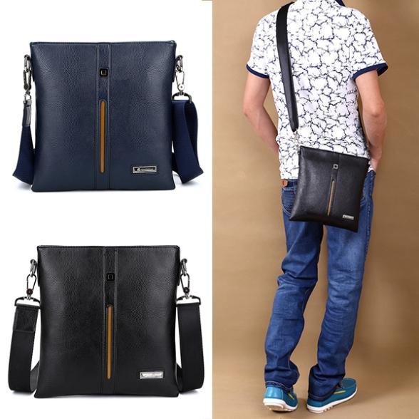 Hot new Men PU Leather Single Shoulder Business bag Messenger bag Cross body Zip Bag Purse Case free shipping(China (Mainland))