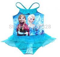 Blue Elsa swimwear frozen swimming costume Baby Girls frozen bathers Kids swimwear swim suit 5pcs/lot