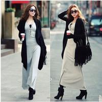 2014 New Autumn WinterSexy  Floor-length Cotton Long Dress Bodycon Slim Fit Clothing Irregular Elegant  Dress For Women