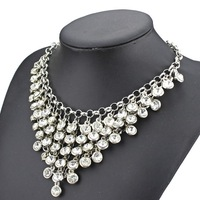 2014 new design high quality women ZA jewelry necklace multilayer glass crystal beads chunky bib statement necklaces