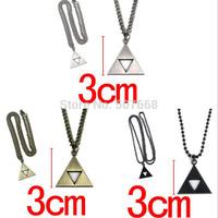 60pcs/lot Anime The Legend of Zelda the Triforce Zelda Triforce Necklace Metal Figure cool Pendant Necklace