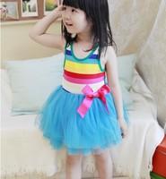 Best off 2013 summer Free shipping girl puffy dress dancing clothing princess tutu dress / rainbow striped dress kids clothing
