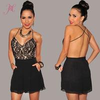 New 2014 Desigual Vestidos Women Black Open Back Lace Double Layer Mini Chiffon Dress Strapless Dress with Pockets  LC21622