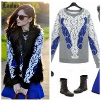 Lanluu Europe Fashion 2014 Autum Winter Long Sleeve Knit Shirt Casual Print Pullover Women Sweatshirts  NM414