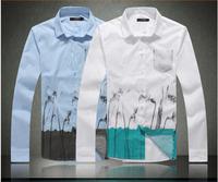 HOT SALE Designer Brand Mens Fashionable Print Shirt Men's Slim Fit Flower shirts male long sleeve shirt Plus size M L XL XXL