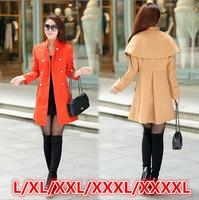 L-4XLsize free shipping women's coats 2014 new plus size slim women wool coats double breasted long overcoat jackets