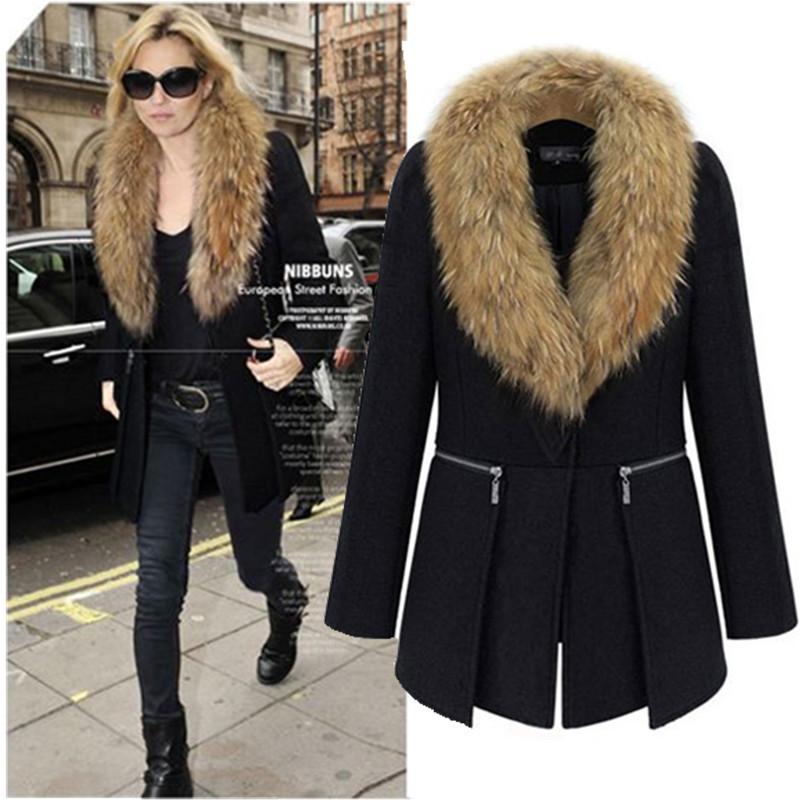 Womens Black Coat With Fur Collar | Down Coat