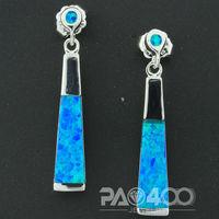 Pacific Blue Fire Opal Silver Fashion  Jewelry Heart Women Stud Earrings  OE093L  Wholesale & Retail