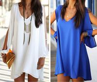 free shipping 2014 Summer Fashion New Sexy Women's Loose V-Neck A-line Casual Chiffon Mini Dress  size s -  xl