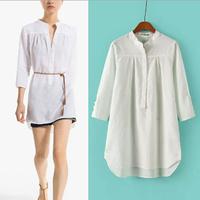 [B-1527] Free shipping 2014 autumn style long shirt with belt linen nine minutes long sleeve shirt belt