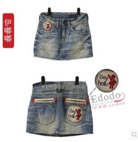 2014 Korean Version Of The Explosion Models Increase Code Fashion Denim Skirt Was Thin Skirts Embroidered Skirt Free Shipping