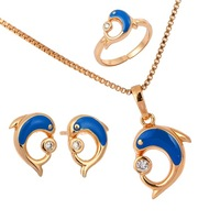 """New  Cute Dolphin Play Ball 18K Yellow Gold Plated Pendant for 16""""Necklace Earrings Ring Toddler Kids Jewelry Sets"""