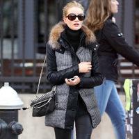 New arrival!2014 Euro style women winter coat hooded tartan design wool outerwear high quality winter jacket  XY107