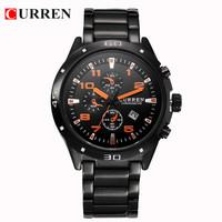 Fashion Curren Men Quartz Watches Men Full Stainless Steel Watch Men Sports Casual Wristwatch Aviator Military Watches