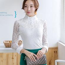 rendas das mulheres camisa básica longa- manga 2014 chiffon preto camisa de gola laço(China (Mainland))