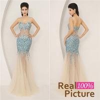 AJ005 Hot Sale Mermaid Prom evening dresses 2014 Blue vestido de festa Luxury Sweetheart Long Evening Dresses 2014 New arrivals