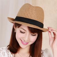 E-Coffee Lu 145 Korean fashion summer jazz hat hemp grass hat black welt decoration