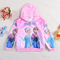Popular 2014 Autumn Frozen Hoodies, Cartoon Elsa and Anna Children Clothing Kids Long Sleeve sweatshirts Baby girl outwear ZY038