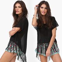 Women Fashion Sexy Chiffon Shirt Asymmetrical Hem Tanssel Patchwork Short Sleeve Round Collar Transparent Black Tops D518