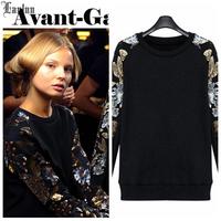 Lanluu 2014 New Autumn & Winter Sweatshirt Long Sleeve Sequins Spliced Casual Pullover Women Shirt Tops  NM415