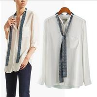 [B-1529] Free shipping women autumn shirt 2014 long-sleeved cotton shirt  bow blouse