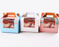*Free Shipping*4-Cavity 4 Count  grid cupcake boxes with window with handle, 50pcs
