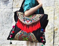 Chinese Original New National Ethnic Embroidery Bags Double Face Embroidered Shoulder Bag Women's Large Tassel Travel Handbag