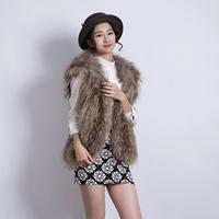 2014 Women's Fashion Knitted Raccoon Fur Vest Hat  With Hood, Raccoon Fur Waistcoat, Fur Coat, SU-14072 Free Shipping