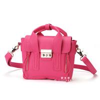 Free Shipping  Fashion 2014 Women Mini Small Double Zipper Handbag Vintage Smiley Tote bag Pashli Motorcycle shoulder handbag