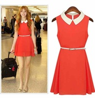 2014 summer 4Color OL new summer chiffon dress was thin and elegant stitching and women Pendulum Belt plus size dress ZY888