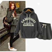 Women's Casualwear Sets Crop Top and Skirt Set Sweatshirts and Skirts Plus Size S-XL Letter Gray Hoodies Skirt Woman Clothes