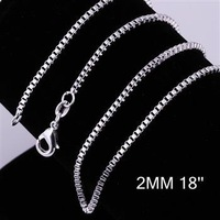 Cool 1pcs 2mm 18 inch 925 Sterling Silver Box Link Chain Lobster Clasp Necklace Free Shipping CN009