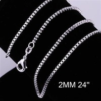 Cool 1pcs 2mm 24 inch 925 Sterling Silver Box Link Chain Lobster Clasp Necklace Free Shipping CC009