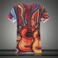 GSYF0003 New arrival guitar streetwear hip-hop men 's t shirt 100% quality cotton short sleeve  slim shirt for men