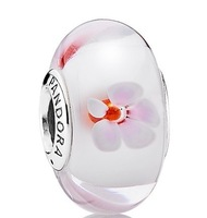 Cherry Blossom Glass Beads Charm Sterling 925 Silver Bead For Pandora