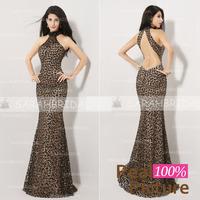 AJ010 Hot Sale Leopard Print Prom evening dresses 2014 Mermaid vestido de festa Halter Long Evening Dresses 2014 New arrivals