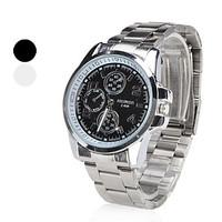 ZY093 Classical Zhongyi Function Silver Case Elegant White/Black Men Quartz Wrist Gift Dress Men's Leather Strap Watch