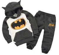 2014 New arrive children outfits tracksuit cartoon boys & girls batman sports suit (hoodies+pants) winter baby clothing retail